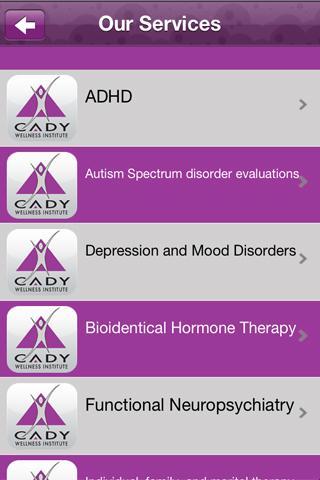 Cady Wellness Institute- screenshot