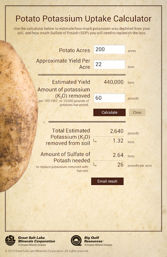 Potato Potassium Calculator- screenshot