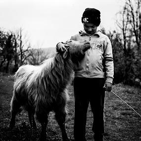 Friends by Dragos Birtoiu - Babies & Children Children Candids ( goat, friendship, children, childhood, black and white, b&w, child, portrait )