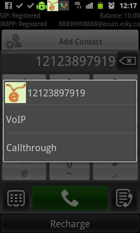 eSky Mobile VoIP Video SMS - screenshot