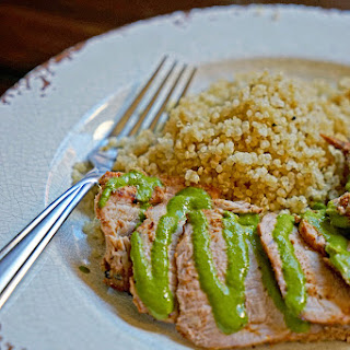 Grilled Pork Tenderloin with Blended Chimichurri Sauce.