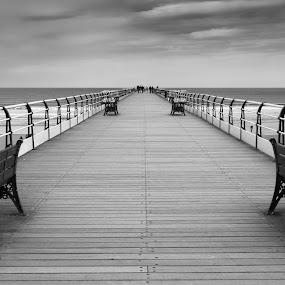 Saltburn Pier by John Ash - Black & White Landscapes ( saltburn; pier; uk; sea; bench )