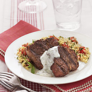 Lamb Chops with Minted Yogurt Sauce.