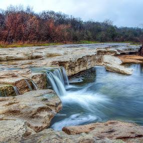 McKinney Falls Colorado River by Robert Marquis - Landscapes Prairies, Meadows & Fields ( waterfalls, nature, texas, waterfall, waterways, mckinney falls, rivers, landscapes, landscape )