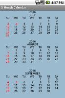 Screenshot of Three Month Calendar