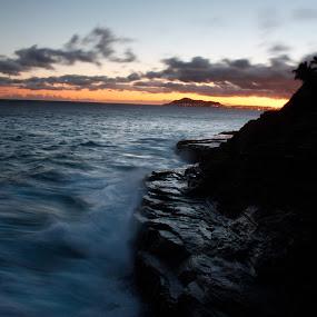 Portlock Sunset by Aaron Gould - Landscapes Sunsets & Sunrises ( waves, sunset, long exposure, ocean,  )