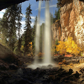 Behind Spouting Rock by Roxie Crouch - Landscapes Caves & Formations ( spouting rock, autumn, hanging lake, waterfall, colorado, aspens, pine trees, cave, glenwood springs, , Earth, Light, Landscapes, Views )