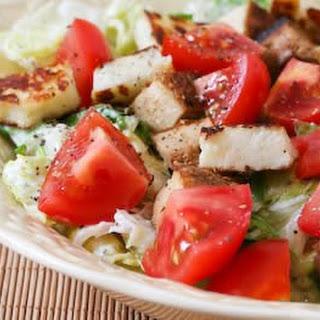 Leftover Tofu, Halloumi, and Tomato Salad