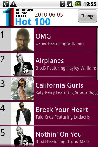 BillBoard Music Chart - screenshot