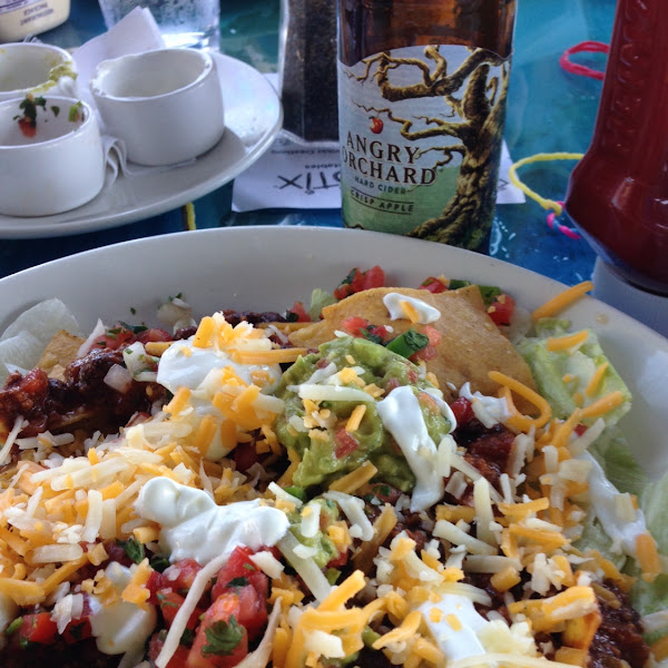 gluten free taco salad, made with chili instead of taco meat. Very yummy and big.  From the GF menu.