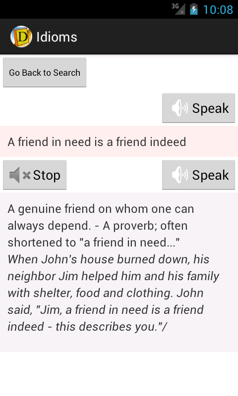 English Idioms Dictionary- screenshot