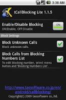 Screenshot of tCallBlocking Lite