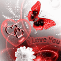 Red Butterfly White Flower Lov icon