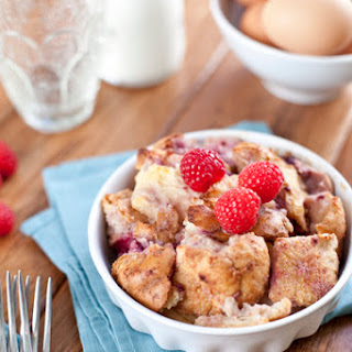 Raspberry Vanilla Bean Bread Pudding