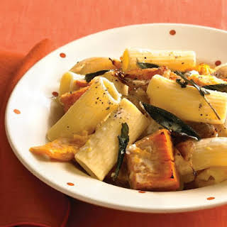 Rigatoni with Roasted Pumpkin and Goat Cheese.