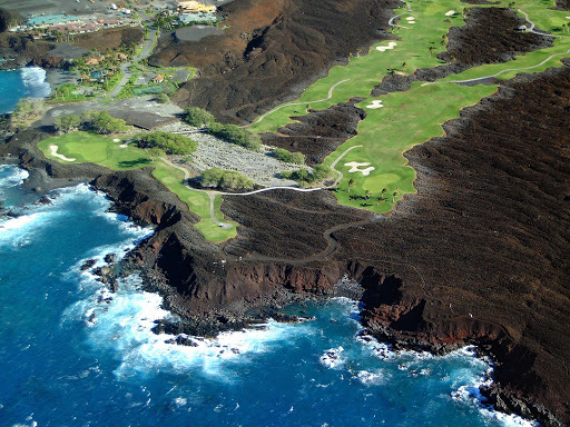 Waikoloa-lava-golf-course - A golf course etched around lava in Waikoloa on the Big Island of Hawaii.