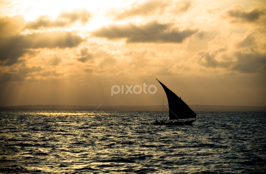 Taking a cruize by Werner Booysen - Transportation Boats ( clouds, waterscape, sea, ocean, sails, seascape, boat, sailboat, sail boat, sun rays, dhow, outdoor, sail, werner booysen, , relax, tranquil, relaxing, tranquility )