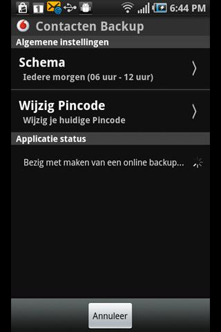 Vodafone Contacten Backup - screenshot