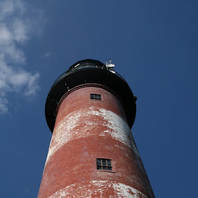 Looking up at the Assasateague Lighthouse  by Dianne Collins - Buildings & Architecture Public & Historical