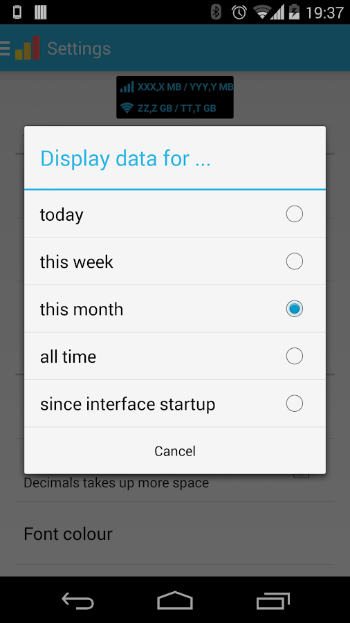 Data counter widget- screenshot