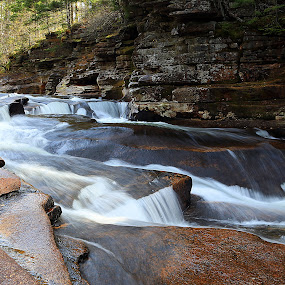 Lower Ammonoosuc Falls by Ken Miller - Landscapes Waterscapes ( autumn, waterscape, waterfall, cascades, long exposure, landscape, river )