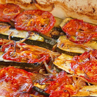 Char-Baked Tomato, Zucchini and Eggplant.