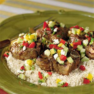 Grilled Lamb Chops With Pineapple-Mint Salsa.