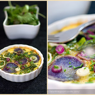 Egg Flan with Purple Potato and Green Vegetables Recipe