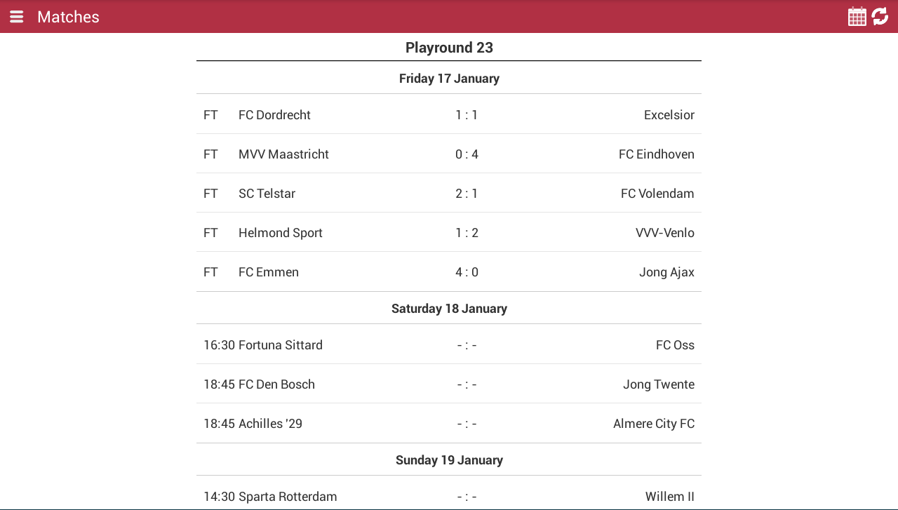 Jupiler League Info - screenshot