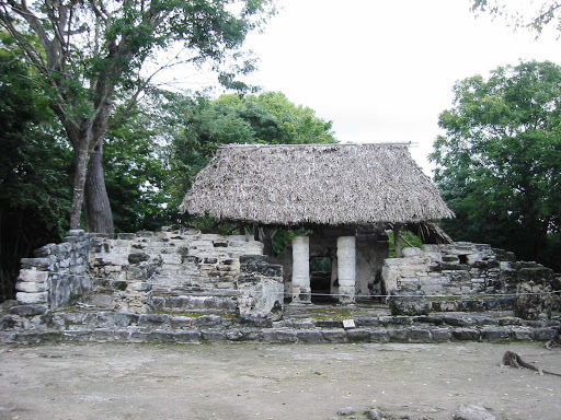 thatch-roof-sangervasio-Cozumel - San Gervasio on Cozumel features structures from Mayan times.