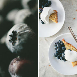 Cornmeal Cake With Blueberries And Maple Whipped Cream.