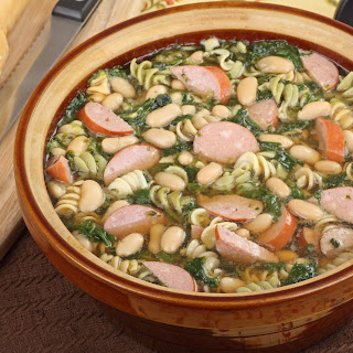 Kielbasa Spinach Rotini Soup
