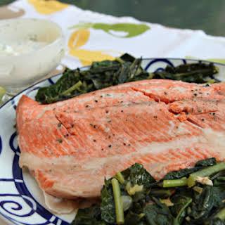 Salmon with Kale and Yogurt – Horseradish Sauce.