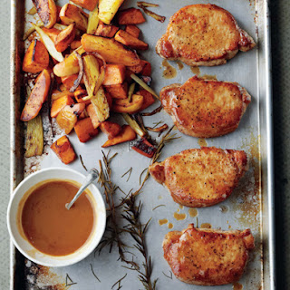 Cider-Dijon Pork Chops with Roasted Sweet Potatoes and Apples.