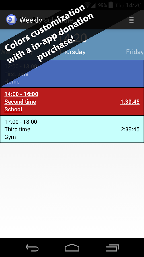 Weekly schedule- screenshot