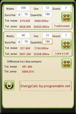Calcolatrice Energetica