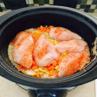 Colorful Slow Cooker Chicken And Rice.