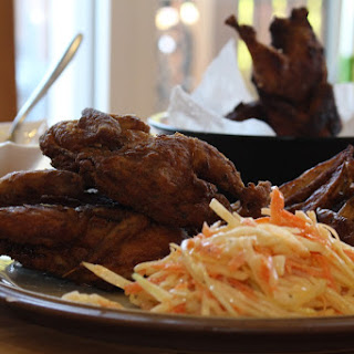 Crispy Southern-Style Buttermilk Quail with Roasted Wedges and Zesty Coleslaw