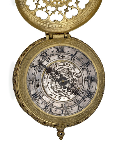 Gilt-brass cased clock-watch with alarm, by Hans Schniep