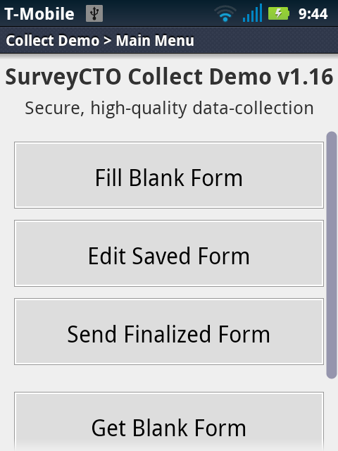 SurveyCTO Collect Demo- screenshot