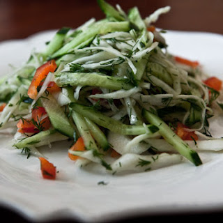 Cabbage Salad With Cucumber And Sweet Pepper.