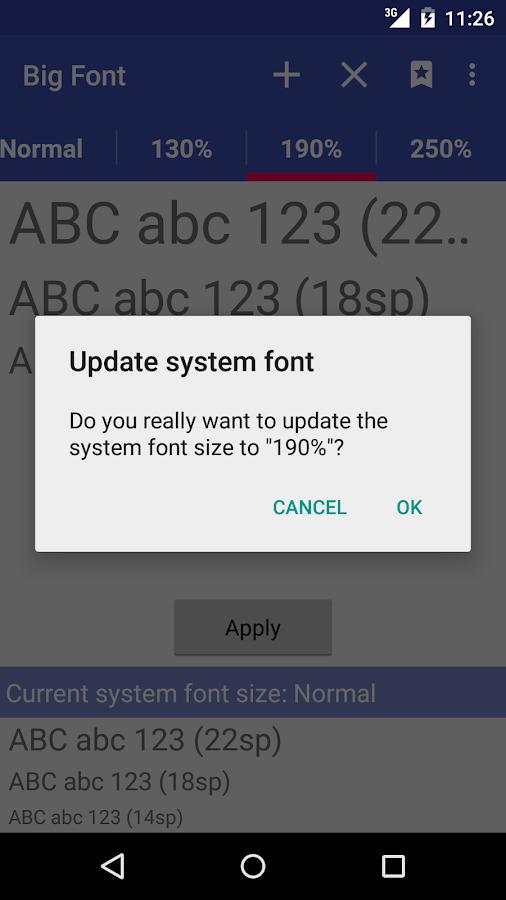 Big Font (change font size)- screenshot