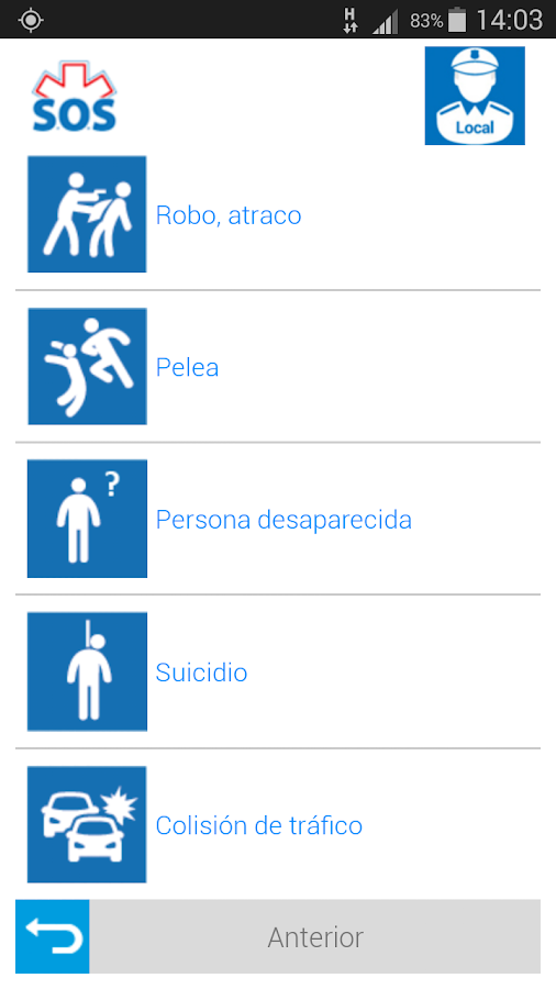 S.O.S. Emergencias: captura de pantalla