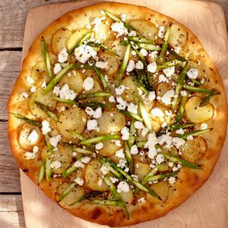 White Pizza with Potatoes and Asparagus.