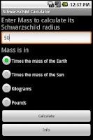Screenshot of Schwarzschild Calculator