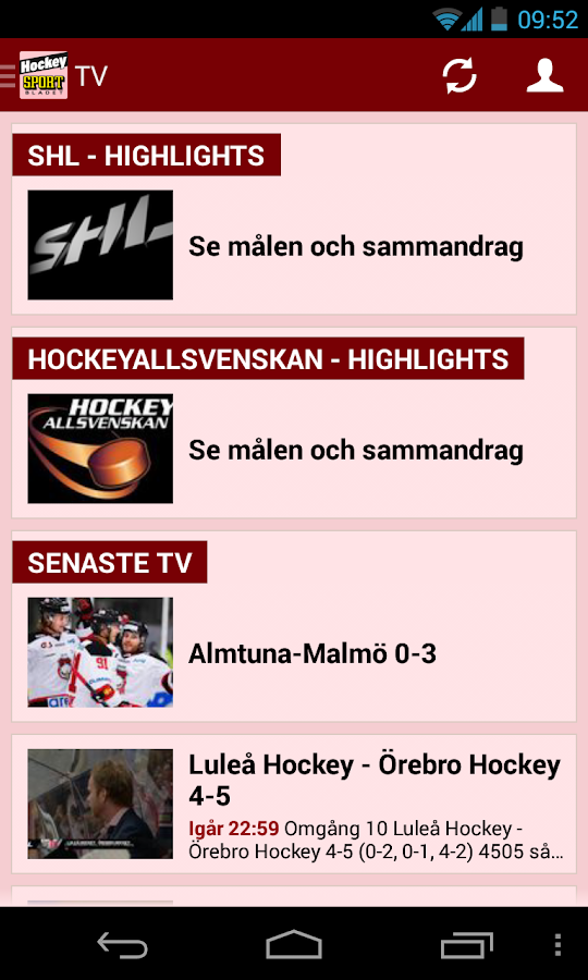 Sportbladet Hockey - screenshot