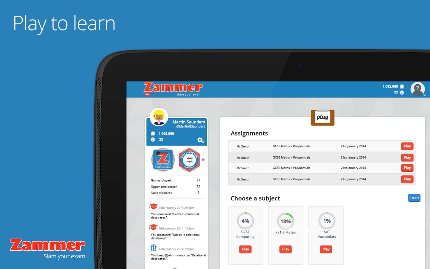 Zammer - Times Tables / SATs- screenshot