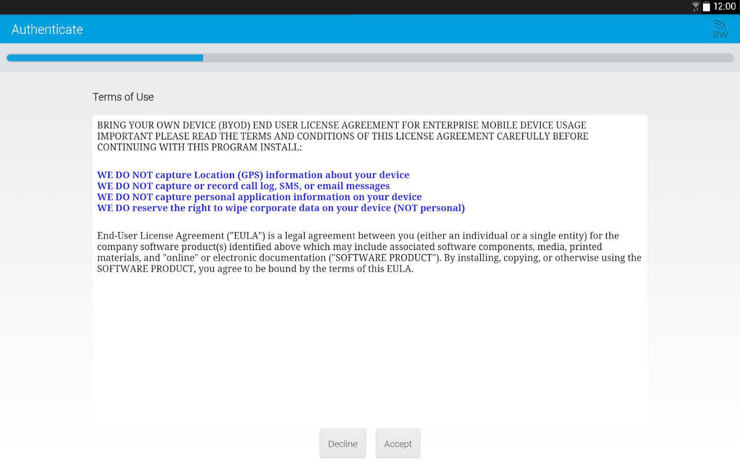 AirWatch Agent- screenshot
