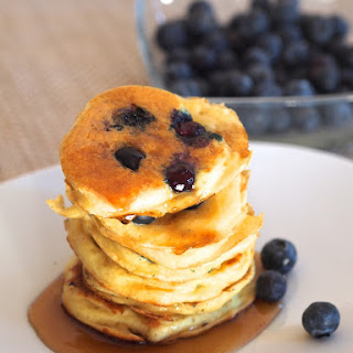 Greek Yogurt Blueberry Pancakes.