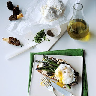 Morel and Asparagus Sandwiches with Poached Egg.